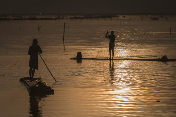 Fisherman silhouette view in JOMBOR water dam early morning