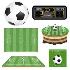 Soccer Football Field, Ball and Scoreboard