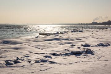 Baltic sea at winter in Sopot, Pomorskie, Poland