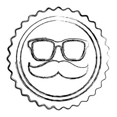 vintage label mustache glasses hipster