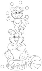 Circus bear and monkey juggling with color balls, a black and white vector illustration in a cartoon style for a coloring book