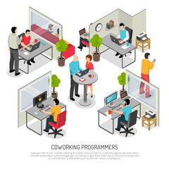 Programmers Coworking Space Isometric Composition
