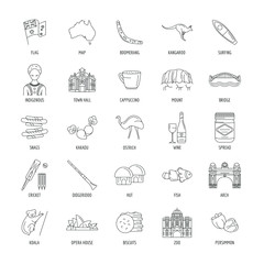 Australia icons set. Outline illustration of 25 Australia vector icons for web and advertising