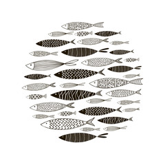 Round pattern with decorative fish