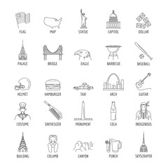 USA icons set. Outline illustration of 25 USA vector icons for web and advertising