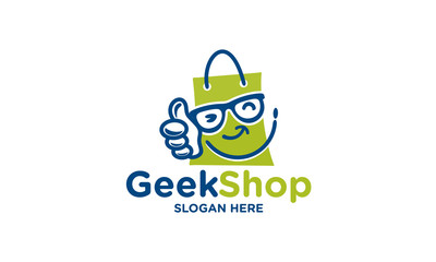 good shop logo design template.geek shop logo design template.vector illustration