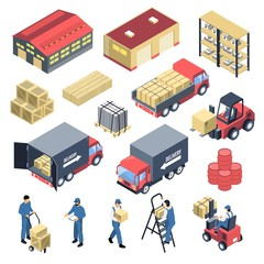 Ware House Isometric Icons Set