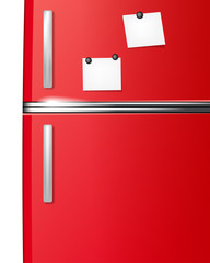 Red refrigerator with paper stickies for your messages