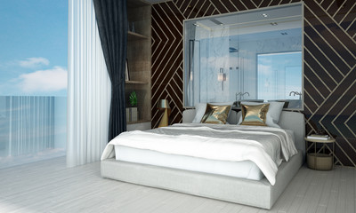 The interior design of modern luxury bedroom and wall texture pattern background
