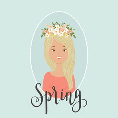 Spring girl vector illustration