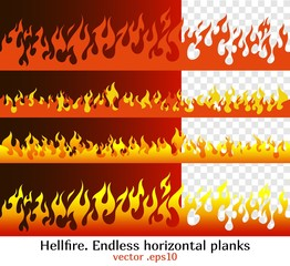 Hellfire endless horizontal planks. Red fire bars, old school flame elements for the endless border, isolated vector illustration