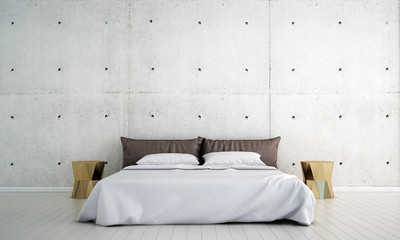 The interior design of bedroom and concrete wall texture pattern background