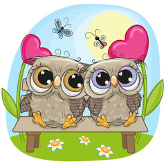 Canvas Prints Owls cartoon Valentine card with Owls on a bench