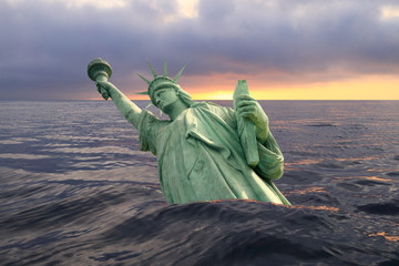 Statue of Liberty sinking in the ocean