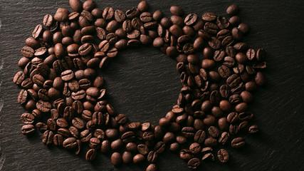 coffee beans near the stone