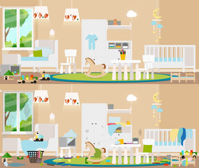 Children's interior. Dirty, cluttered room in complete disarray and clean room. Vector flat illustration.