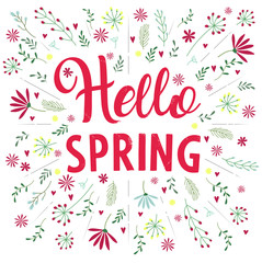 Vector inscription hello spring goodbye winter on black background