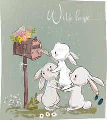 cute hares with letter
