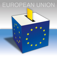 European Union, Electoral ballot box, European elections, vector illustration