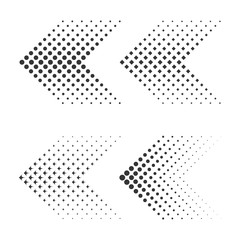 Set of arrows with halftone effect. Vector illustration
