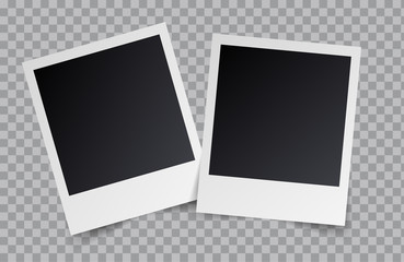 Vector realistic blank photo frames isolated on transparent background