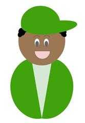 Garoto de boné verde