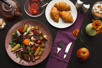 Restaurant breakfast with warm potato salad
