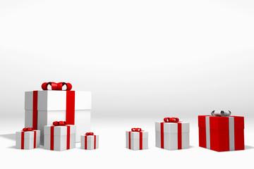 ein rote Geschenkkarton und sechs weiße kartons