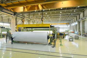 Industriehalle einer Papierfabrik: Papierrolle aus Altpapier in der Herstellung // production of paper in the industry - paper rolls for a printing company
