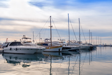 yachts anchored in the bay