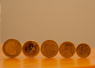 coins of euro on table and gray background