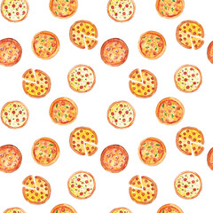 Watercolor hand drawn sketch illustration seamless pattern background with pizza with different fillings isolated on white