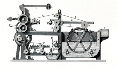 Cylinder paper-making machine by Friedrich Voith (from Meyers Lexikon, 1896, 13/484/485)