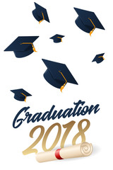 Graduation 2018 poster with hat or mortar board.