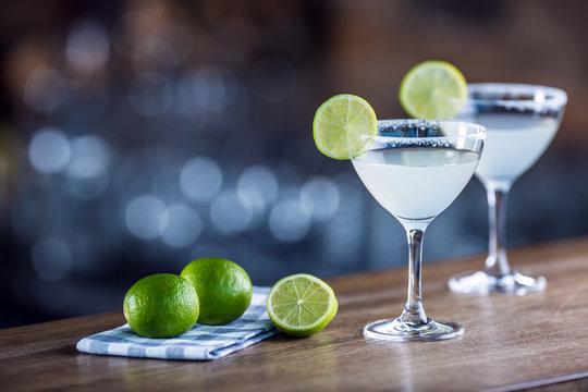 Margarita. Margatita alcoholic cocktail drink on barcounter in pub or restaurant