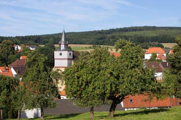 Streuobstwiese mit Dorf und Kirche in Gottsbüren , Landkreis Kassel