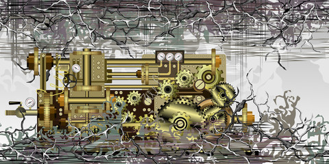 Steampunk fantastic machine with brass gears, pipes and other devices on abstract surreal background. Hand drawn vector illustration for t-shirt print design.