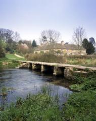 UK, Cotswolds, Gloucestershire, Eastleach, the ancient clapper bridge over The River Leach