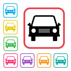 Car icon. Black and colored silhouettes. Vector illustration
