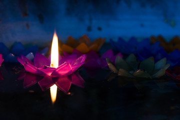 Colorful Lotus candle design, Flowers candle floating on water (Night scene)