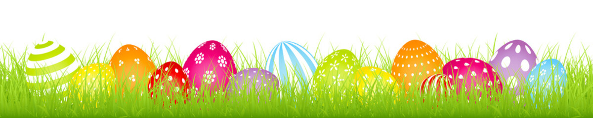 Rainbow Easter Eggs White Pattern Color Banner