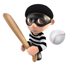 3d Funny cartoon burglar thief character with a baseball bat and ball