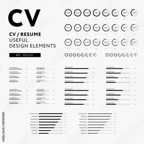cv resume design elements skills icons set minimal iconography vector black and white - Elements Of A Resume