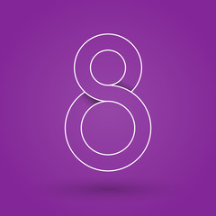 Number eight. International Women's Day. 8 March. Flat design, vector illustration