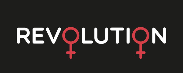 Concept of feminism. Revolution with female gender symbols. Flat design, vector illustration