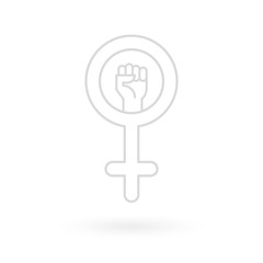 Feminism icon. Female gender symbol with raised fist. Flat and minimal design. Vector illustration