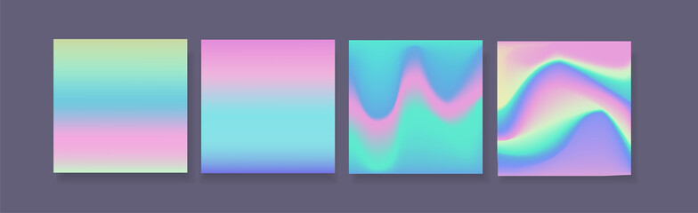 Hologram gradient set of four backgrounds with dark backdrop.