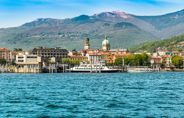 Foto auf Acrylglas Stadt am Wasser Harbor of Intra Verbania, is a little town on the shore of Lake Maggiore, Italy