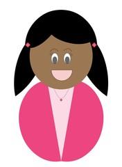 Menina negra com roupa cor de rosa