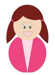 Menina ruiva com roupa cor de rosa
